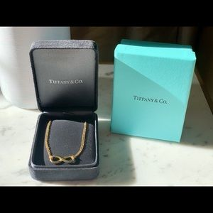 Tiffany 14k golf infinity, double chain necklace